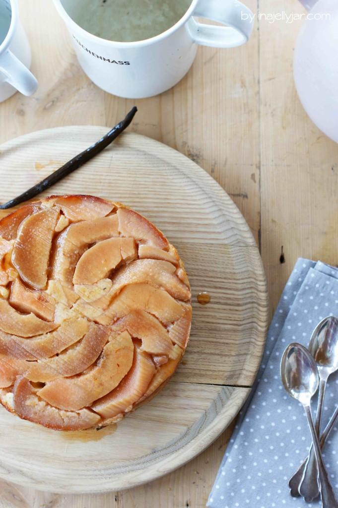 Upside-Down-Kuchen mit Weißwein-gedünsteten Quitten