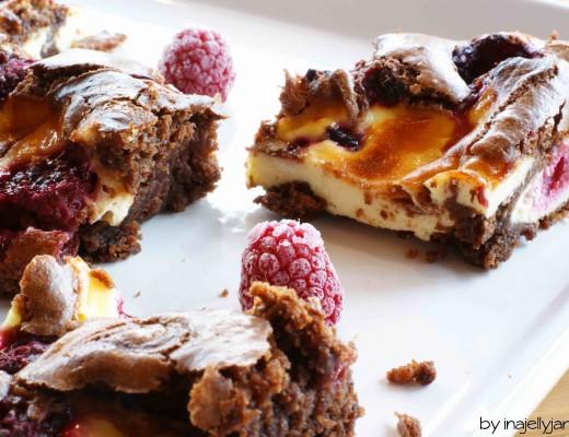 Super saftige Himbeer-Cheesecake-Brownies