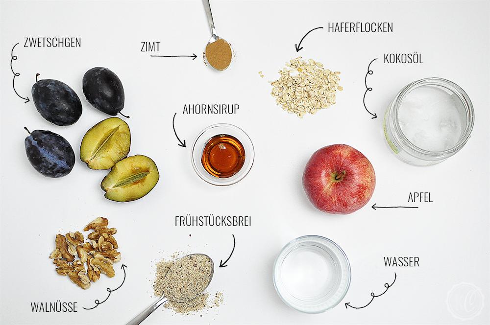 Zutatenliste für Gebackenes Herbstmüsli mit Zwetschgen - vegan und frei von raffiniertem Zucker