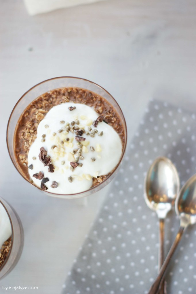 Vegane Overnight Oats mit Schokolade