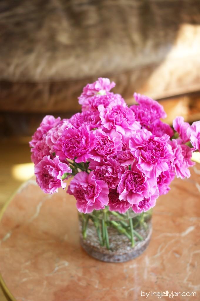 Farbenfrohe Blumen im Biohotel Mas Salagros