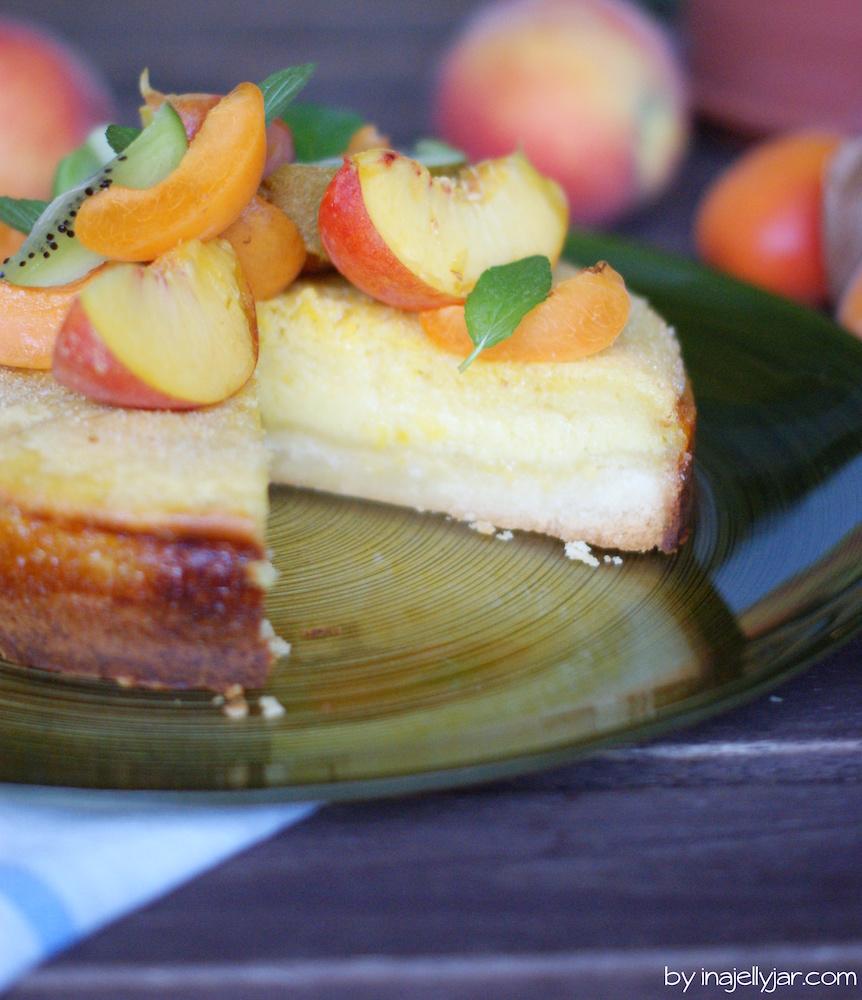 Pfirsichmousse-Torte mit Knusperboden