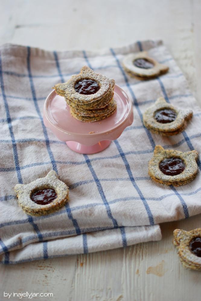 Rezept für Linzer Augen mit Mohn und Kriecherl-Marmelade