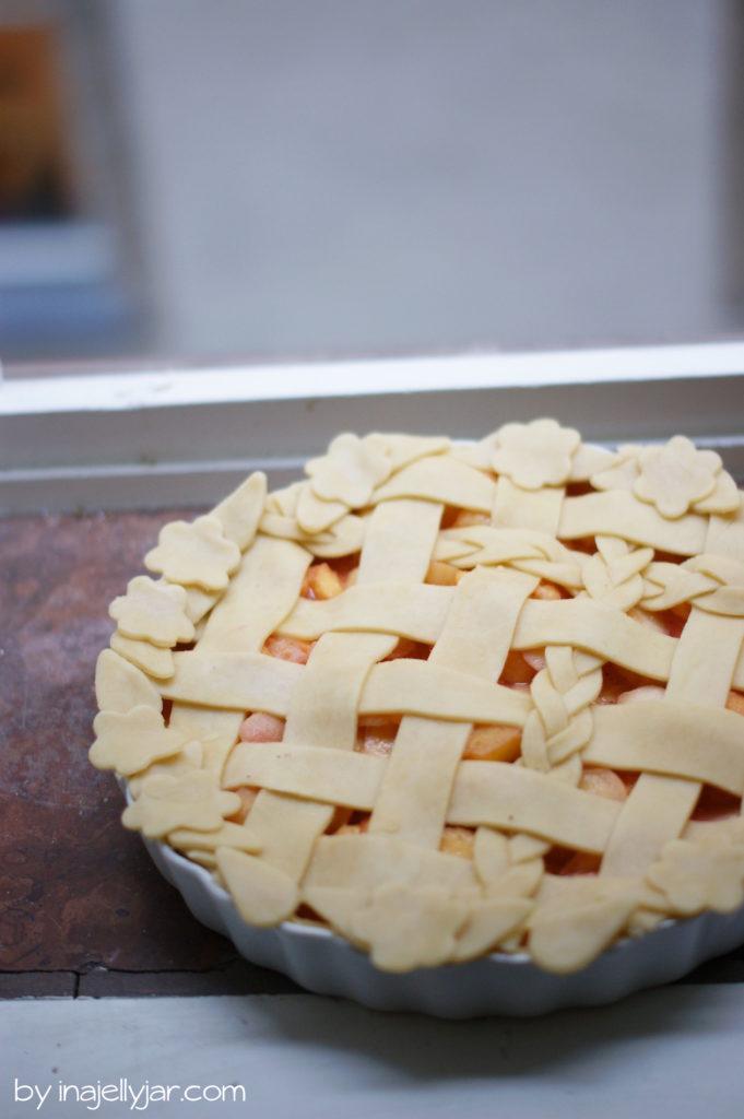 Pfirsich Pie roh und ungebacken